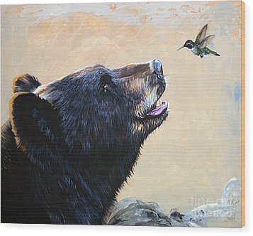 The Bear And The Hummingbird Wood Print