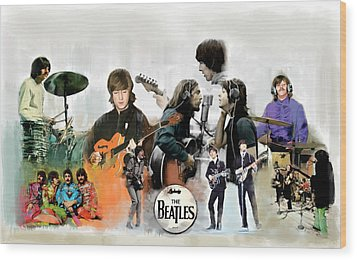 Wood Print featuring the painting The Beatles Fabs by Iconic Images Art Gallery David Pucciarelli