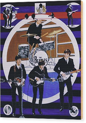 The Beatles - Live On The Ed Sullivan Show Wood Print by Sean Connolly