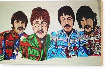 The Beatles  Wood Print by Pauline Murphy
