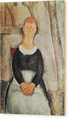 The Beautiful Grocer Wood Print by Amedeo Modigliani