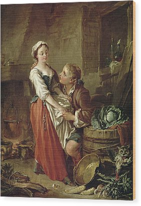 The Beautiful Kitchen Maid Wood Print by Francois Boucher