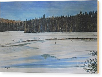 The Beaver Pond In Winter Wood Print by Stanton Allaben