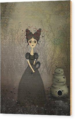 The Bee Keeper Wood Print by Charlene Zatloukal