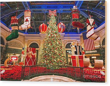 The Bellagio Christmas Tree 2015 Wood Print