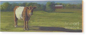 The Belted Cow Wood Print by Terri  Meyer