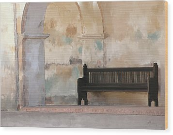 The Bench Wood Print by Michael Greenaway