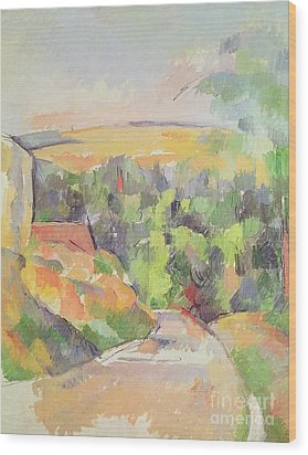 The Bend In The Road Wood Print by Paul Cezanne