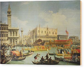 The Betrothal Of The Venetian Doge To The Adriatic Sea Wood Print by Canaletto