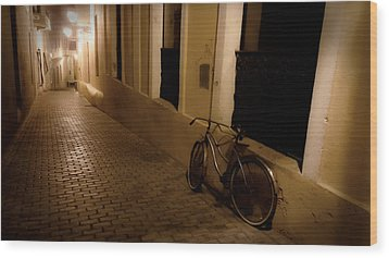 Wood Print featuring the photograph The Bicycle And The Brick Road by DigiArt Diaries by Vicky B Fuller
