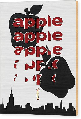 The Big Apple Rotten Apple Wood Print by Turtle Caps