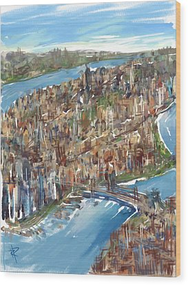 The Big Apple Wood Print by Russell Pierce