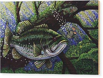 The Big Bass Wood Print by Bob Crawford