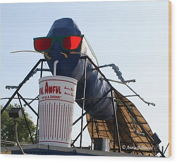 The Big Blue Bug Wood Print by Anne Babineau