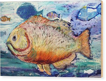 Wood Print featuring the painting The Big Fish by Diane Ursin
