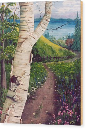 Wood Print featuring the painting The Birch by Renate Nadi Wesley