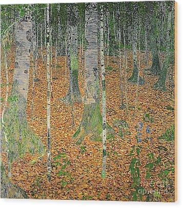 The Birch Wood Wood Print by Gustav Klimt