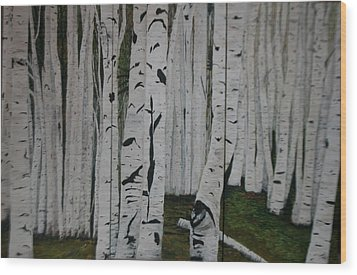 Wood Print featuring the painting The Birches.. by Betty-Anne McDonald