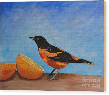 Wood Print featuring the painting The Bird And Orange by Laura Forde
