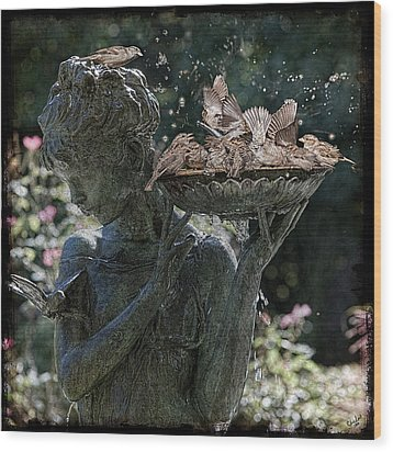 The Bird Bath Wood Print