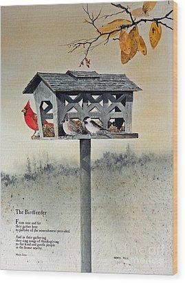 The Birdfeeder Wood Print by Monte Toon