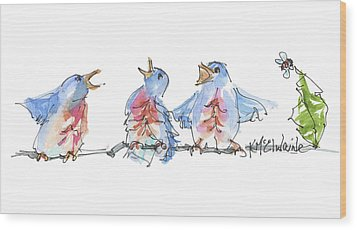The Birds And The Bee Bird Art Watercolor Painting By Kmcelwaine Wood Print