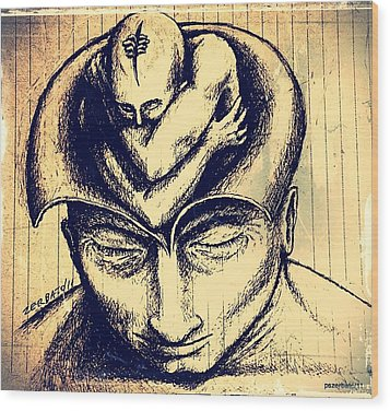 The Birth Of The Symbolic Human Being  Wood Print by Paulo Zerbato
