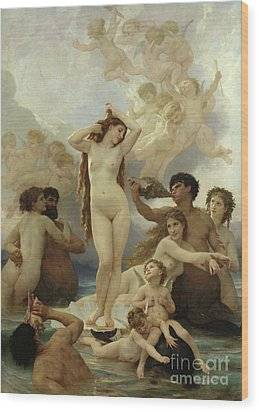 The Birth Of Venus Wood Print by William-Adolphe Bouguereau
