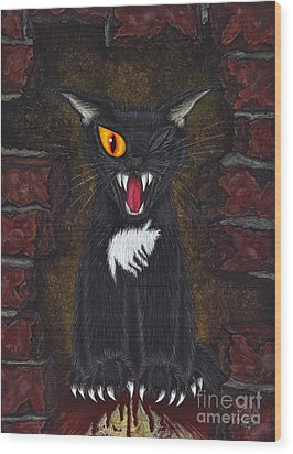 Wood Print featuring the painting The Black Cat Edgar Allan Poe by Carrie Hawks