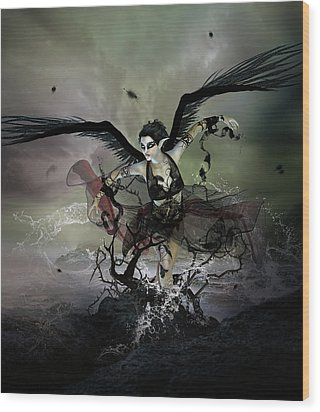 The Black Swan Wood Print by Mary Hood