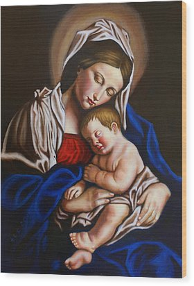 The Blessed Mother And The Infant Jesus Wood Print