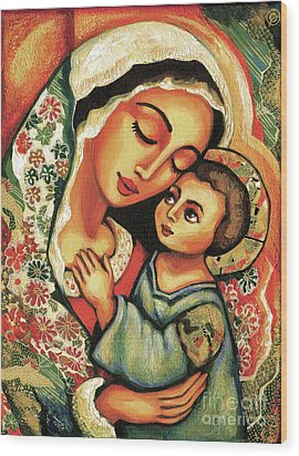 The Blessed Mother Wood Print by Eva Campbell