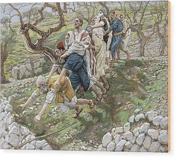 The Blind Leading The Blind Wood Print by Tissot