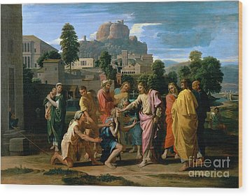 The Blind Of Jericho Wood Print by Nicolas Poussin