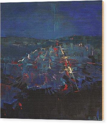Wood Print featuring the painting The Blue by Anastasija Kraineva