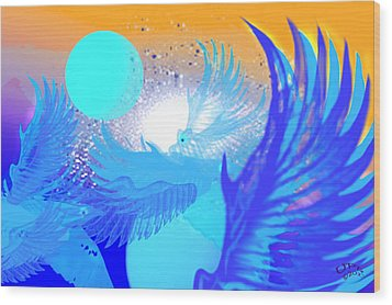The Blue Avians Wood Print by Ute Posegga-Rudel