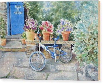 The Blue Bicycle Wood Print by Deborah Ronglien