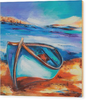 Wood Print featuring the painting The Blue Boat by Elise Palmigiani
