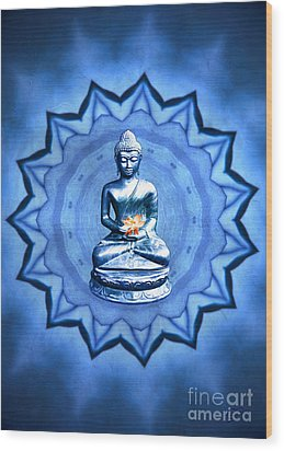 The Blue Buddha Meditation Wood Print