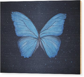 Wood Print featuring the painting The Blue Butterfly by Edwin Alverio