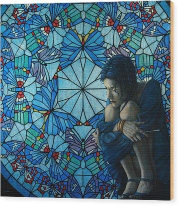 The Blue Caterpillar From Alice In Wonderland Wood Print by Jose Luis Munoz Luque