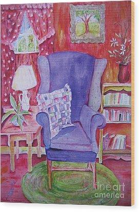The Blue Chair Wood Print by Marlene Robbins