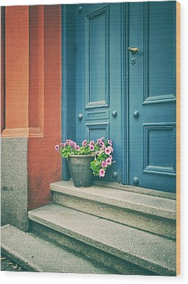 Wood Print featuring the photograph The Blue Door by Karen Stahlros