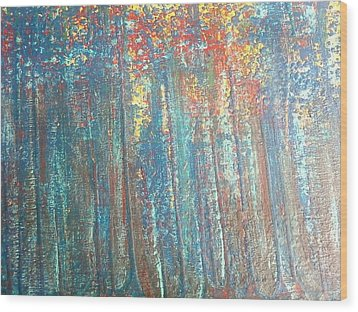 The Blue Forest Wood Print by Pradeep Gupta