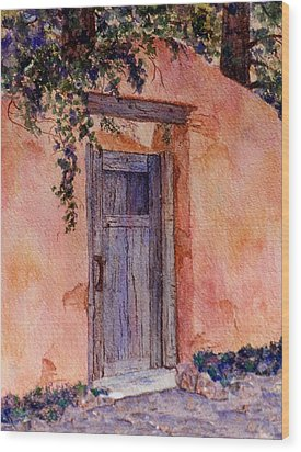 The Blue Gate Wood Print by Ann Peck