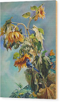The Blue Jay Who Came To Breakfast Wood Print by Svitozar Nenyuk