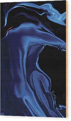 Wood Print featuring the digital art The Blue Kiss by Rabi Khan