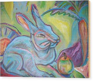 The Blue Rabbit Wood Print by Marlene Robbins