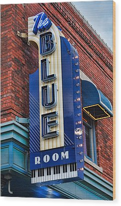 The Blue Room Sign Wood Print