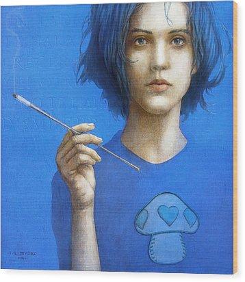 The Blue Smoker Caterpillar From Alice In Wonderland Wood Print by Jose Luis Munoz Luque